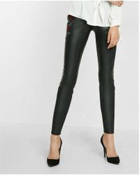 Express - Faux Leather Embroidered Leggings - Lyst