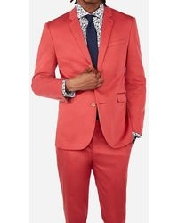 Express - Extra Slim Nantucket Red Cotton Sateen Performance Stretch Suit Jacket Pink - Lyst