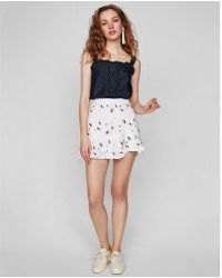 Express - Floral Embroidered Eyelet Ruffle Wrap Mini Skirt - Lyst
