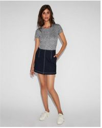 Express - High Waisted Slim A-line Original Denim Mini Skirt - Lyst