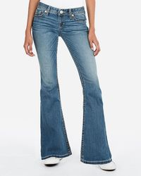 Express Low Rise Thick Stitch Bell Bottom Flare Jeans, - Blue