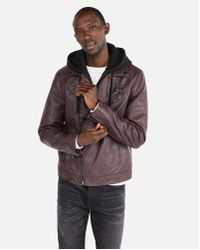 Express - Faux Leather Pebbled Hooded Asymmetrical Moto Jacket - Lyst