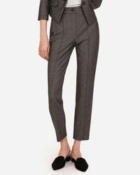 Express - High Waisted Seamed Pintuck Ankle Pant Gold - Lyst