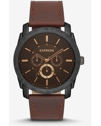 Express - Rivington Electronic Multi-function Brown Leather Watch - Lyst