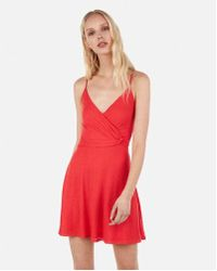 85004e58c2 Express - Ibbed Twist Front Fit And Flare Mini Dress - Lyst