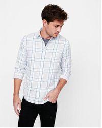 Express - Slim Soft Wash Plaid Double Weave Button Down Shirt - Lyst