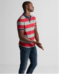 Express - Small Lion Stripe Stretch Pique Polo - Lyst