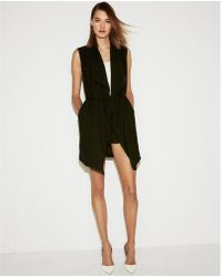 Express - Sleeveless Drape Tie Jacket - Lyst