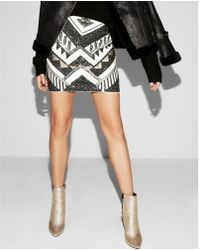 Express - Petite Sequin Mini Skirt - Lyst