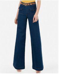 Express - Super High Waisted Pocket Wide Leg Jeans - Lyst