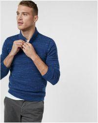 Express - Shawl Collar Marled Henley Sweater - Lyst