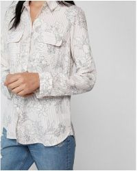 Express - Etite Floral Stripe City Shirt - Lyst