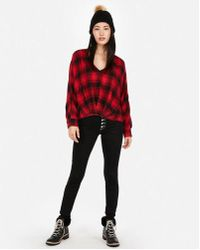 Express - Plaid Flannel Deep V-neck Top - Lyst
