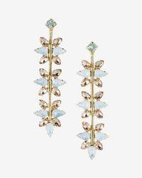 Express - Linear Floral Stone Drop Earrings - Lyst