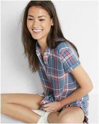 Express - Plaid Short Sleeve Button-up Shirt - Lyst