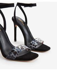 Express - Vinyl Square Toe Heeled Sandals Black - Lyst