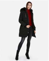 Express - Long Belted Puffer Coat - Lyst