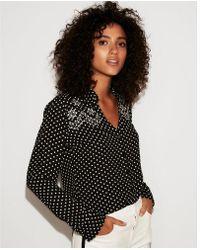 Express - Slim Fit Embroidered Polka Dot Portofino Shirt - Lyst