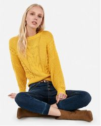 Express - Cropped Cable Knit Jumper - Lyst