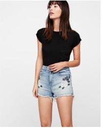Express - High Waisted Floral Denim Cutoff Shorts - Lyst