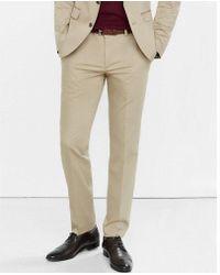 Express | Skinny Innovator Cotton Sateen Khaki Suit Pant | Lyst