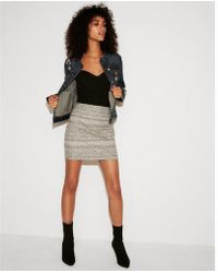 Express - High Waisted Heathered Mini Skirt - Lyst