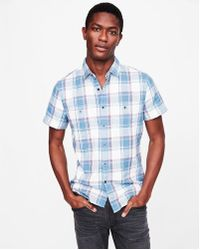 Express - Soft Wash Plaid Short Sleeve Double Weave Shirt - Lyst