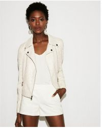 Express - Faux Leather Perforated Boxy Moto Jacket - Lyst