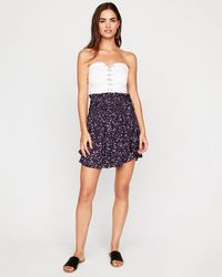 Express - Floral Smocked Mini Skirt Purple - Lyst
