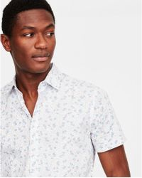 Express - Floral Short Sleeve Slim Fit Cotton Shirt - Lyst
