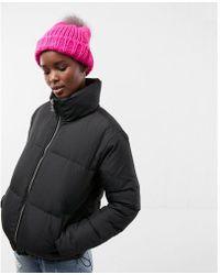 Express - Zip Front Short Puffer Coat - Lyst