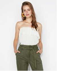 Express - Ruffle Banded Hem Tube Top - Lyst