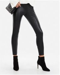 Express - Petite High Waisted Faux Leather Leggings - Lyst