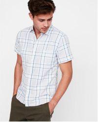 Express - Slim Plaid Short Sleeve Double Weave Shirt - Lyst