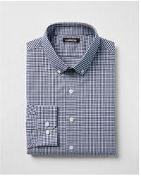 Express - Extra Slim Check Button Collar Dress Shirt - Lyst