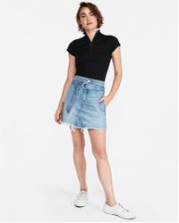 Express - D-ring Belted Denim Mini Skirt - Lyst
