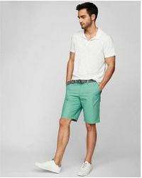 9840bf133d Express - Classic Fit 10 Inch Belted Flat Front Shorts - Lyst