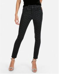 Express - Mid Rise Rhinestone Studded Stretch Ankle Leggings - Lyst