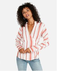 Express - Striped Side Button Blouse - Lyst