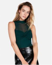 Express - One Eleven Mesh Mock Neck Bodysuit - Lyst