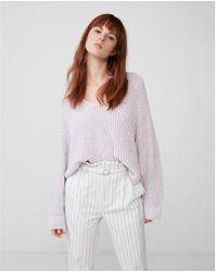 Express - Oversized Shaker V-neck Sweater - Lyst