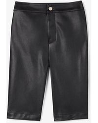 Express Olivia Culpo High Waisted Faux Leather Bermuda Shorts Black