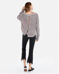 Express - Petite Cable Knit Split Back Jumper - Lyst