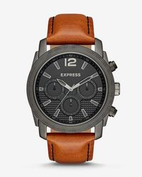 Express - Rivington Textured Multi-function Leather Watch - Cognac - Lyst