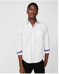 54be2e7b Lyst - Express Classic Micro Floral Soft Wash Button-down Shirt in ...