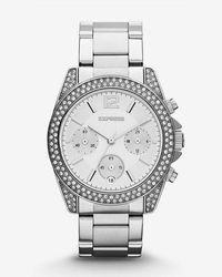 Express - Glendale Pave Embellished Chronograph Watch - Lyst