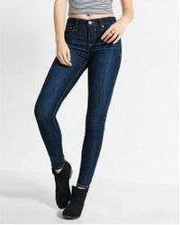 Express | Mid Rise Dark Wash Stretch Jean Leggings | Lyst