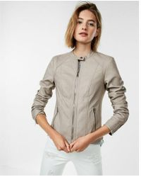 Express - Who What Wear Pick (minus The) Leather Double Peplum Jacket - Lyst