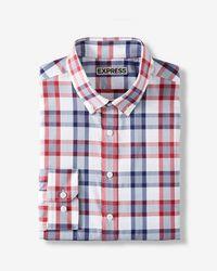 Express - Slim Fit Plaid Performance Dress Shirt - Lyst