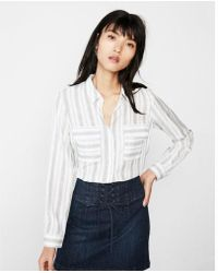 Express - Petite Stripe Round Hem City Shirt - Lyst